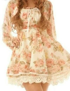 dress cute floral lolita girly lace hippie