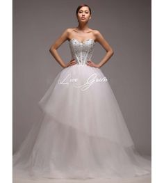 Ball Gown Sweetheart Strapless Beaded Satin Wedding Dress $253.90