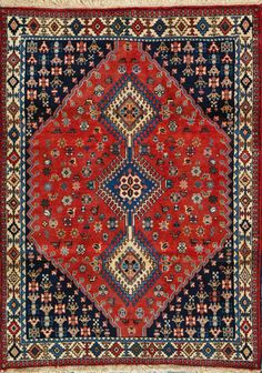 "Yalameh Persian Rug, Buy Handmade Yalameh Persian Rug 3' 6"" x 4' 9"", Authentic Persian Rug"