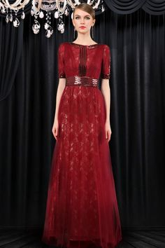 1c407d6b1bcf8 Modest High Neck Full Back Long Burgundy Tulle Lace Evening Dress With  Sleeves