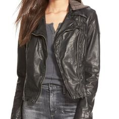 Free people faux hooded leather jacket Free people hooded motor jacket, size 6 in flawless condition. Zipper on cuffs and on sides of breast very fitted. 3rd photo shows the hood on the back Free People Jackets & Coats