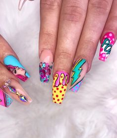 So much fun creating this pop art set for the talented ! Pulled a lil… So much fun creating this pop art set for the talented ! Pulled a lil inspo from my fave 💕 Amazing glitter from… Colorful Nail Designs, Acrylic Nail Designs, Nail Art Designs, Colorful Nails, Nails Design, Pop Art Nails, Nail Pops, Crazy Nail Art, Crazy Nails