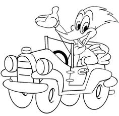 Woody The Bird Driving A Car Coloring Pages