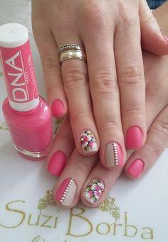 Unhas rosa decoradas, unhas decoradas delicadas, unhas delicadas, u Bra Pattern, Beauty Nails, Finger, Nail Designs, Nail Polish, Dots, Nail Art, Machine Video, Iphone 7