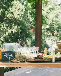 Or, you could go classic and provide an assortment of wine, cheese, and fruit for a delicious afternoon snack!      Event design by Off The Beaten Path Weddings