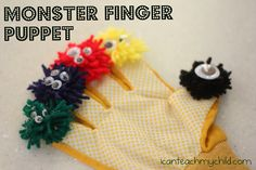 Monster Finger Puppet made out of a garden glove from Dollar store. I can make something similar for the Bug theme!