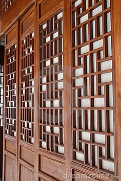 Chinese traditional window and door Modern Chinese Interior, Asian Interior Design, China Architecture, Architecture Details, Chinese Gate, Asian Wall Decor, Grill Door Design, Traditional Windows, Lattice Design