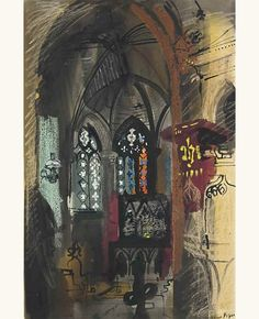 lilithsplace:  Compton Valence, 1954 - John Piper (1903–1992) watercolour, ink, gouache and pastel | source:
