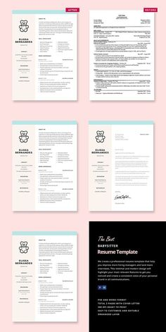 Babysitter Resume Template #nannyresume #babysittingresume