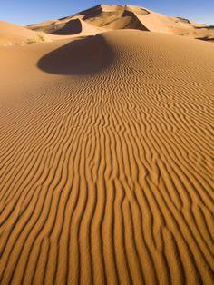 Rolling Orange Sand Dunes and Sand Ripples in the Erg Chebbi Sand Sea Near Merzouga, Morocco