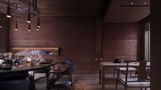 Image 15 of 36 from gallery of East & West Restaurant / Horizontal Space Design. Photograph by Xufeng Jing Restaurant Lounge, Restaurant Design, Floor Plans, Flooring, Interior Design, Architecture, Space, Table, Furniture