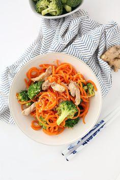 Sesame-Ginger Garlic Chicken and Broccoli Carrot Noodle Stir Fry
