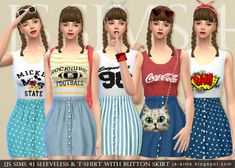 JS Sims 4: Sleeveless & T-Shirt With Button Skirt • Sims 4 Downloads  Check more at http://sims4downloads.net/js-sims-4-sleeveless-t-shirt-with-button-skirt/