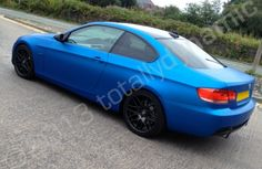 BMW 335i wrapped in a matt metallic blue vinyl car wrap by Totally Dynamic Manchester