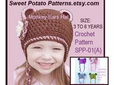 Instant Download PDF Crochet Pattern - Monkey Ears Hat Slzes age 3 to age 6 SPP-01(A)    Permission to sell your finished hats