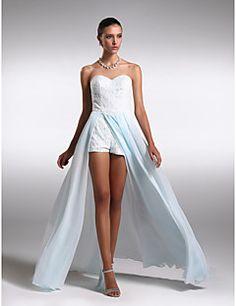 Homecoming Formal Evening Dress - Sky Blue Sheath/Column Swe... – USD $ 119.99