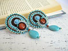 Turquoise Soutache Clip On Earrings, Soutache Earring, Turquoise Stud Earring, Gift for Wife, Turquoise Drop Earring, Brown Blue earring