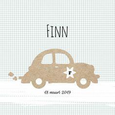 Lief en speels geboortekaartje voor een jongen met een auto, verkrijgbaar bij #kaartje2go voor €1,89