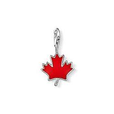 """11-892 Thomas Sabo Charm pendant """"maple leaf"""" with lobster clasp 925 Sterling silver red-enamelled Size: 1.8 cm"""