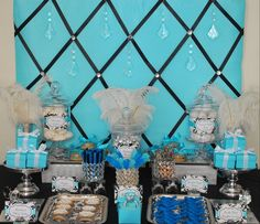 Here is a great Tiffany Wedding Shower Ideas Tiffany Blue Party, Tiffany Theme, Azul Tiffany, Tiffany Wedding, Tiffany And Co, Teal Party, Bling Party, Blue Desserts, Candy Table