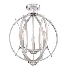 "Possini Euro Spherical 16"" Wide Brushed Nickel Ceiling Light - #5Y172 