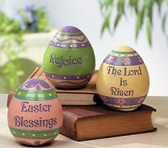 These are $7.98 at Terry's Village.com 3 PC Easter Inspirational Christian Blessing Decorative Egg Set   eBay