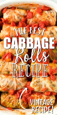 This cabbage rolls recipe is a comfort food favorite stuffed with flavorful seasoned meat and rice being topped with a homemade tomato sauce and baked. Cabbage Roll Sauce, Best Cabbage Rolls Recipe, Easy Cabbage Rolls, Cabbage Recipes, Easy Stuffed Cabbage, Eastern European Recipes, Easy Casserole Recipes, Le Diner, Dinner Dishes