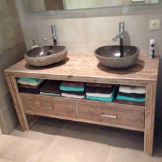 Wastafel Bathroom Vanity Base, Bathroom Renos, Diy Pallet Projects, Wooden Kitchen, Home Reno, Bathroom Interior Design, Double Vanity, House Design, Vanities