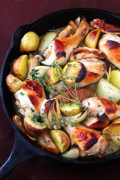 apple cider baked chicken with garlic, dijon, lemon, and yukon gold potatoes. So making this...