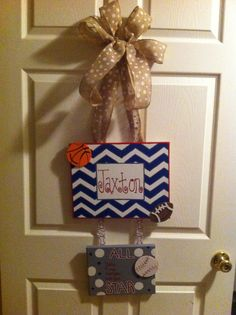 Baby boy sports door hanger.