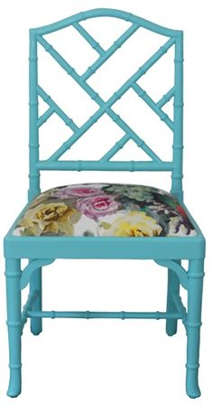 #turquoise #chippendale chair with Designers Guild #floral