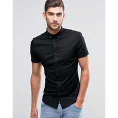 ASOS Skinny Shirt In Black Twill With Short Sleeves (€27) ❤ liked on Polyvore featuring men's fashion, men's clothing, men's shirts, men's casual shirts, black, mens stretch shirt, mens twill shirts, mens tall shirts, mens button down collar shirts and mens casual short-sleeve button-down shirts