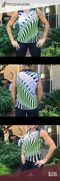 Jamie Sadock colorful golf tank Collar zip colorful Pro shop golf tank light weight vibrant colors black collar. Worn once excellent condition.Golfers delight 🏌️‍♀️ Made in India jamie sadock Tops Tank Tops