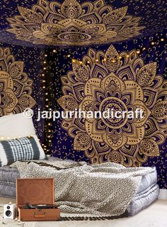 New Launched Blue Gold Passion Ombre Mandala Tapestry By Madhu International, Boho Mandala Tapestry, Wall Hanging, Gypsy Tapestry -- Awesome products selected by Anna Churchill