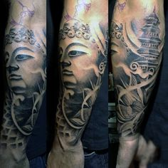 Guys Forearm Black Ink Sleeve Buddha Tattoo
