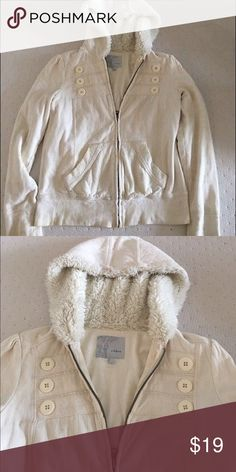 "Tildon Cozy Soft Cream Hoodie Cozy warm Tilden Cream zip up hoodie from Nordstrom. Hood feels like a soft teddy bear. 100% cotton and hood lining is 100% polyester. Inseam from armpit 13"" bust 34"" dry clean only Tildon Tops Sweatshirts & Hoodies"