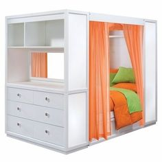 orange ,green and white bed and cubbie.