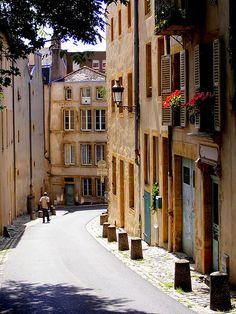 """Walking in the old streets of Metz En descendant la rue d' Enfer - Metz - France"" Lorraine France, Alsace Lorraine, Metz France, Paris France, The Places Youll Go, Places To See, European City Breaks, Ville France, Old Street"