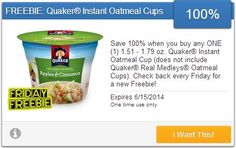 The SavingStar Friday FREEBIE for 6-13 is Quaker Oatmeal! Sign up and load this to a store loyalty card and get 100% back after purchase!  ► http://www.thecouponingcouple.com/savingstar-friday-freebie-for-6-13-multiple-stores/