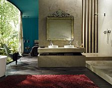 Hansgrophe; A bathroom that represents harmony – indoors and outdoors, nature and architecture and bathroom and bedroom all blend in with each other.