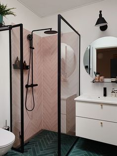 downstairs loo The most fabulous pink tiles in the bathroom shower cubicle. Bathroom Design Layout, Bathroom Interior Design, Bad Inspiration, Bathroom Inspiration, Feng Shui Bathroom, Shower Cubicles, Small Bathroom, Bathroom Ideas, Vanity Bathroom