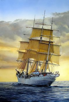 Eventide Painting  - Eventide Fine Art Print  Chest Piece?..thigh..I love the way this ship looks