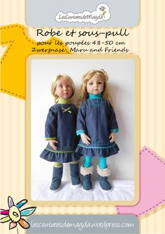 Robe et sous-pull (Zwergnase, Maru and Friends) Coat Patterns, Doll Clothes Patterns, Clothing Patterns, Sous Pull, Pulls, Friends, Crafts For Kids, Denim, Trending Outfits