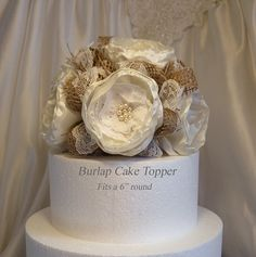 """Burlap Cake Topper Natural Burlap and Lace ivory by PapernLace, $45.00 this with the """"R""""  sticking out of it maybe..?"""