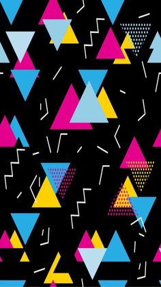 Seamless geometric pattern in retro style. Pop art triangles, lines, zigzag pattern on black. Geometric Patterns, Pop Art Patterns, Geometric Shapes, Design Patterns, 80s Background, Background Patterns, Background Designs, 90s Pattern, Pattern Art