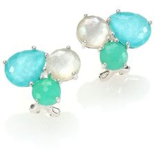 IPPOLITA Rock Candy Chrysoprase, Green Turquoise, Mother-Of-Pearl &... ($830) ❤ liked on Polyvore featuring jewelry, earrings, apparel & accessories, cluster earrings, iridescent earrings, pandora jewelry, womens jewellery и diamond earrings