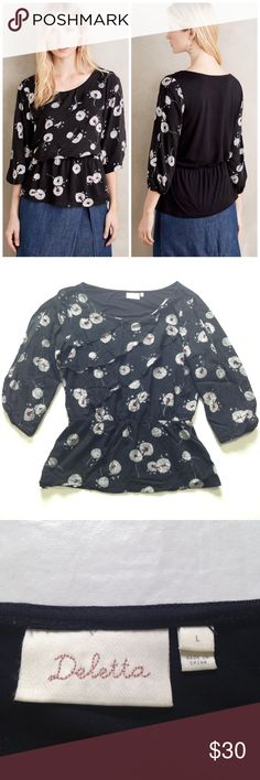 Deletta Wished Blooms top Black top with dandelion puffs print great condition! Anthropologie Tops Blouses