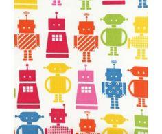 Funbots Robots in Garden by Ann Kelle for Robert Kaufman Fabrics robot cotton novelty fabric Cool Fabric, Pink Fabric, Amy Butler Fabric, Robert Kaufman, Fabulous Fabrics, Fabric Online, Sewing Patterns, Crafty, Quilts