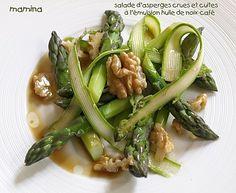 Salade d'asperges vertes à l'huile de noix et au café - Mamina | Recette végétalienne - Vegan recipe