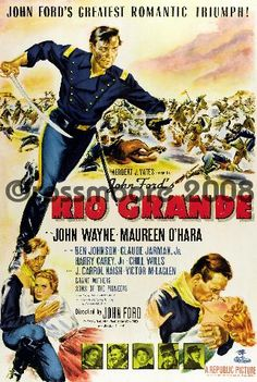 """Stock Photo - Old movie poster """"Rio Grande"""" a 1950 Western film directed by John Ford and starring John Wayne and Maureen O'Hara Old Movies, Vintage Movies, Great Movies, Vintage Posters, Classic Movie Posters, Classic Movies, Westerns, Rio Grande Film, Film Rio"""
